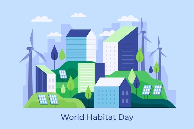 Journée Mondiale De L'habitat Design Plat Vecteur gratuit