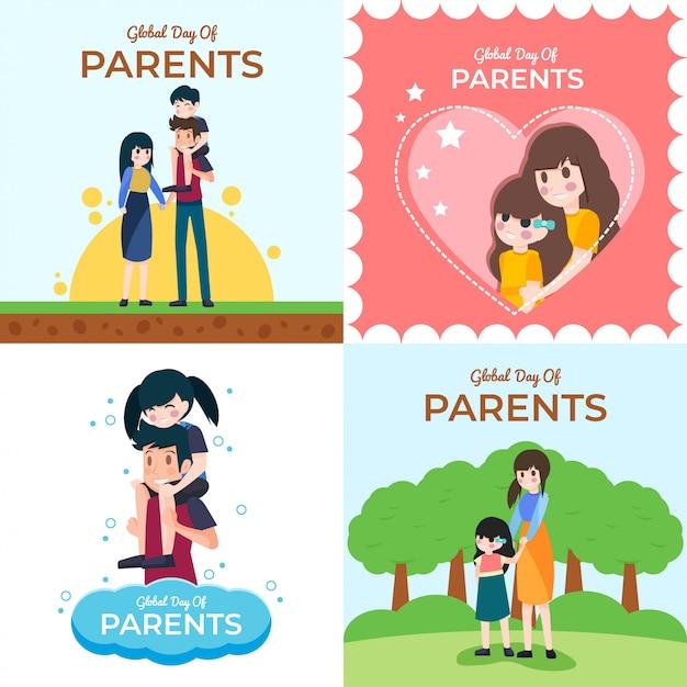 Journée mondiale de l'illustration des parents Vecteur Premium