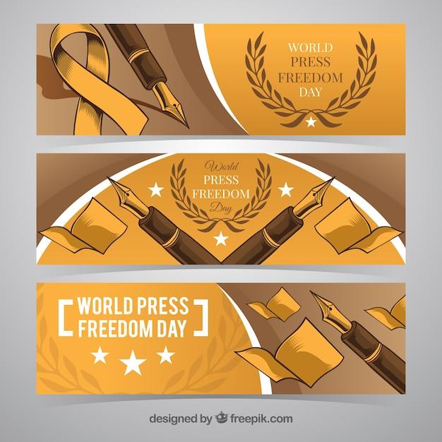 Journée Mondiale De La Liberté De La Presse Avec Des Bannières De Dessins à La Plume Vecteur gratuit