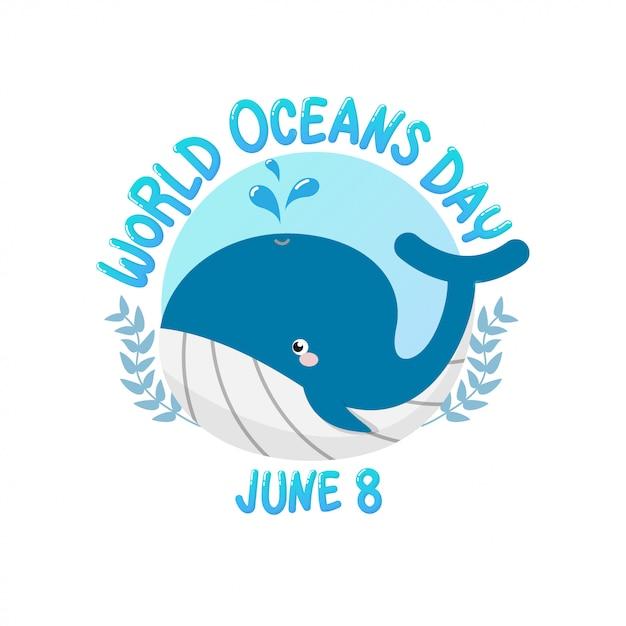 Journée mondiale des océans avec une baleine pulvérise l'eau en cercle. Vecteur Premium