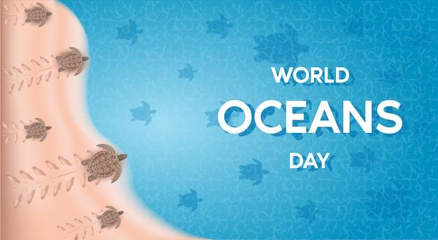 Journée Mondiale Des Océans. La Célébration Dédiée à La Protection Vecteur Premium