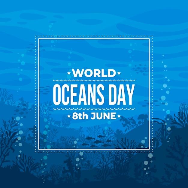 Journée Mondiale Des Océans Design Plat Vecteur Premium