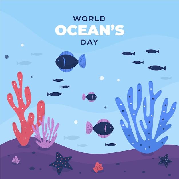 Journée Mondiale Des Océans Avec Des Poissons Vecteur gratuit