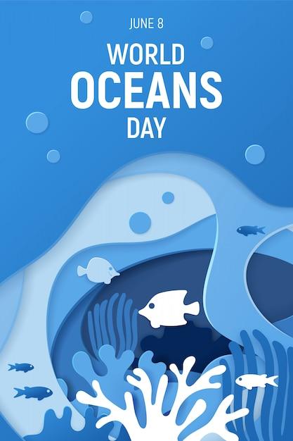 Journée mondiale des océans Vecteur Premium