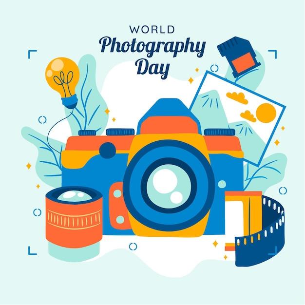 Journée Mondiale De La Photographie Avec Appareil Photo Et Film Vecteur gratuit