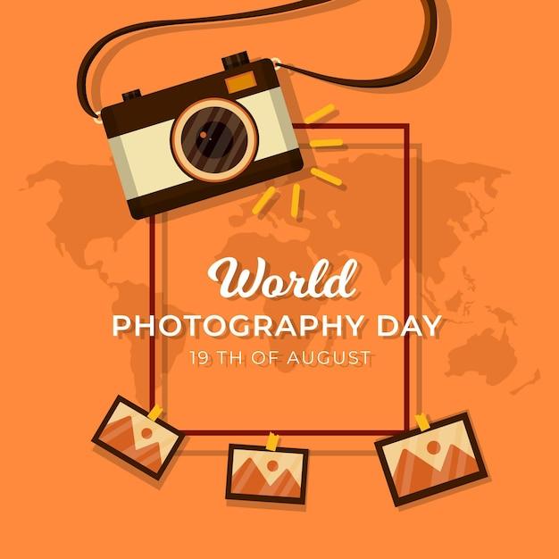Journée Mondiale De La Photographie Avec Appareil Photo Vecteur gratuit