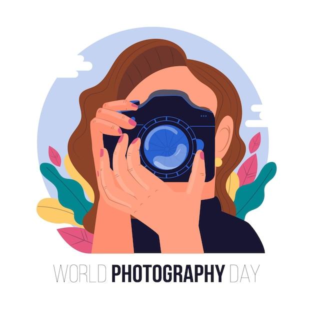 Journée Mondiale De La Photographie Avec Une Femme Prenant Une Photo Vecteur gratuit
