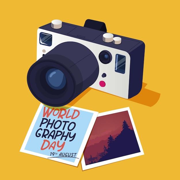 Journée Mondiale De La Photographie Avec Photos Et Appareil Photo Vecteur gratuit