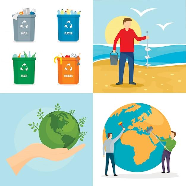 Journée mondiale propre Vecteur Premium
