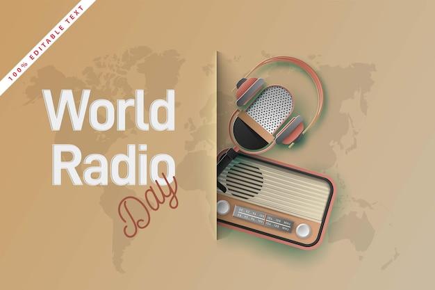Journée Mondiale De La Radio. Papier Découpé Vecteur Premium