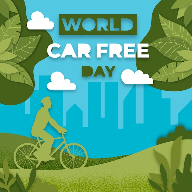 Journée Mondiale Sans Voiture Du Design Plat Vecteur gratuit