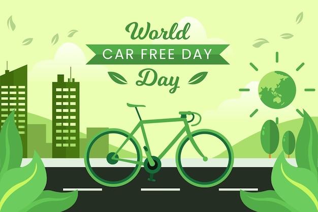 Journée Mondiale Sans Voiture à Vélo Vecteur gratuit