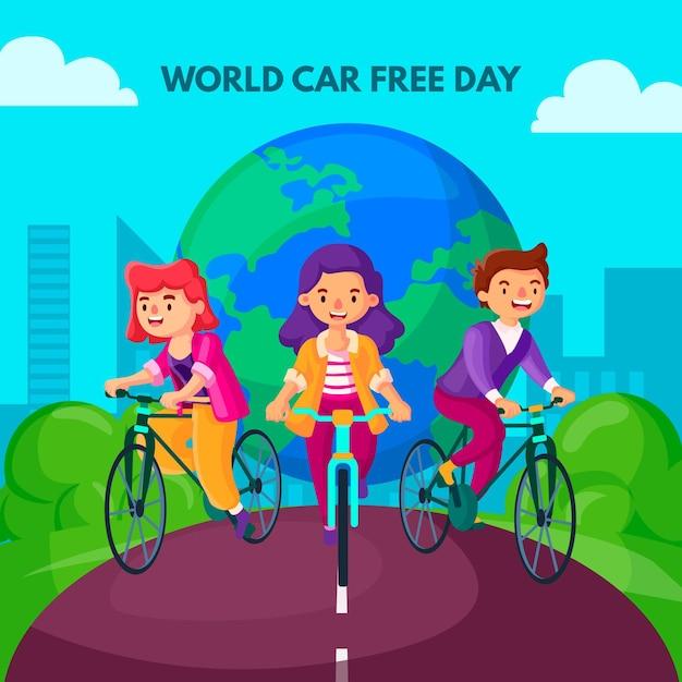 Journée Mondiale Sans Voiture Vecteur gratuit