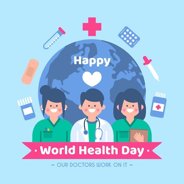 Journée Mondiale De La Santé Au Design Plat Vecteur gratuit