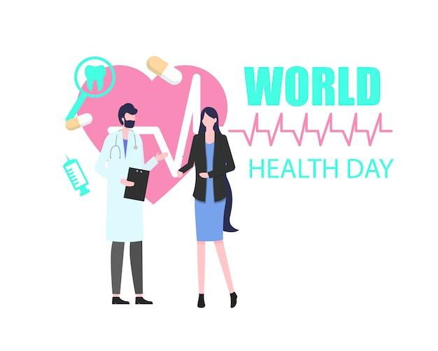 Journée mondiale de la santé femme patient avec man doctor vector illustration Vecteur Premium
