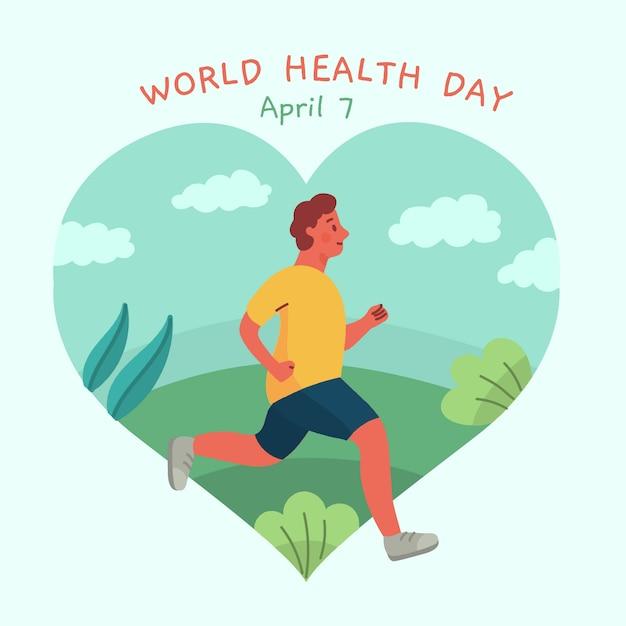 Journée Mondiale De La Santé Avec L'homme Qui Court Vecteur gratuit