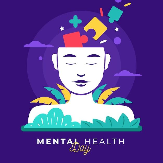 Journée Mondiale De La Santé Mentale Design Plat Avec Puzzle Vecteur gratuit
