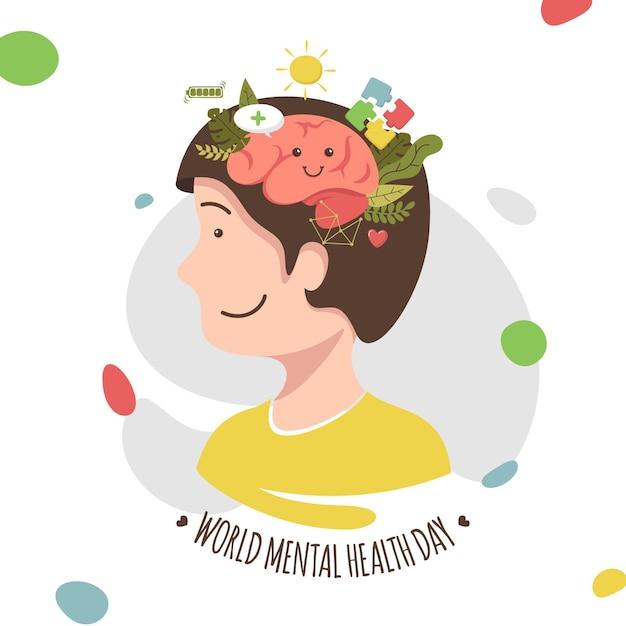 Journée Mondiale De La Santé Mentale Design Plat Vecteur gratuit