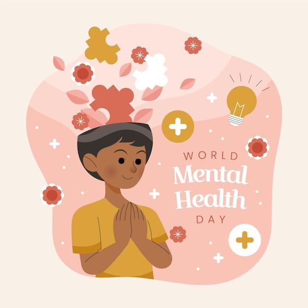 Journée Mondiale De La Santé Mentale Dessinée à La Main Vecteur gratuit
