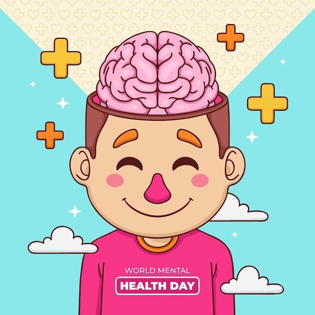 Journée Mondiale De La Santé Mentale De Fond Dessiné à La Main Avec Le Cerveau Et Les Signes Plus Vecteur gratuit