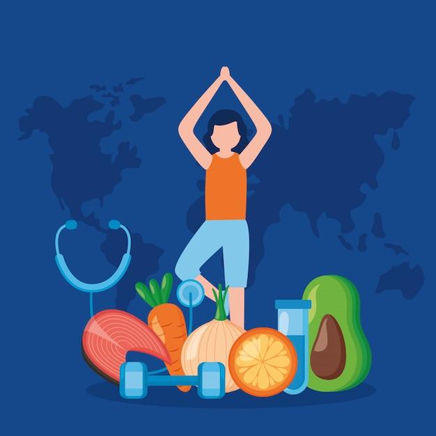 Journée mondiale de la santé des personnes Vecteur gratuit