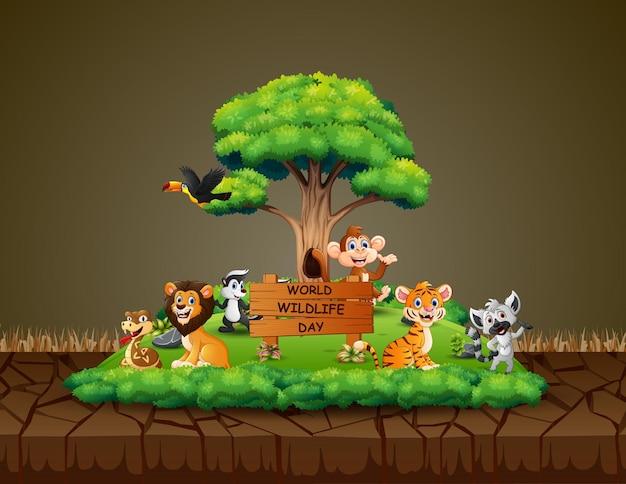 Journée Mondiale De La Vie Sauvage Avec Les Animaux Dans Une Forêt Verte Vecteur Premium