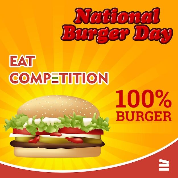 Journée nationale des hamburgers Vecteur Premium