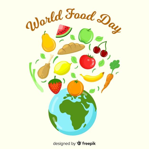 Journée de la nourriture mondiale dessinée à la main Vecteur gratuit