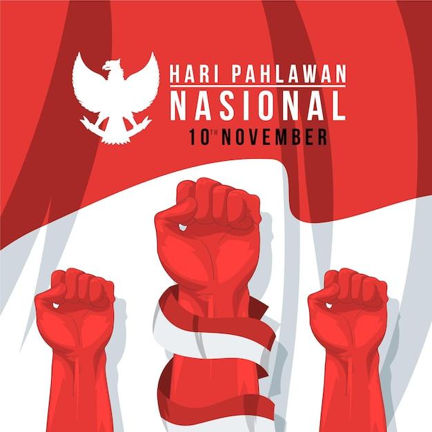 Journée Pahlawan Design Plat Vecteur gratuit