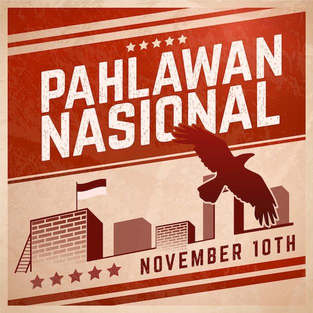 Journée Pahlawan Vintage Vecteur Premium