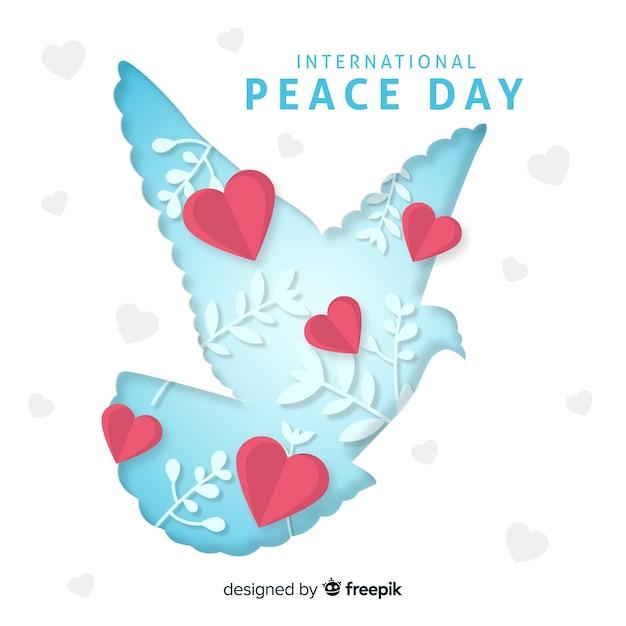 Journée de la paix avec la colombe Vecteur gratuit
