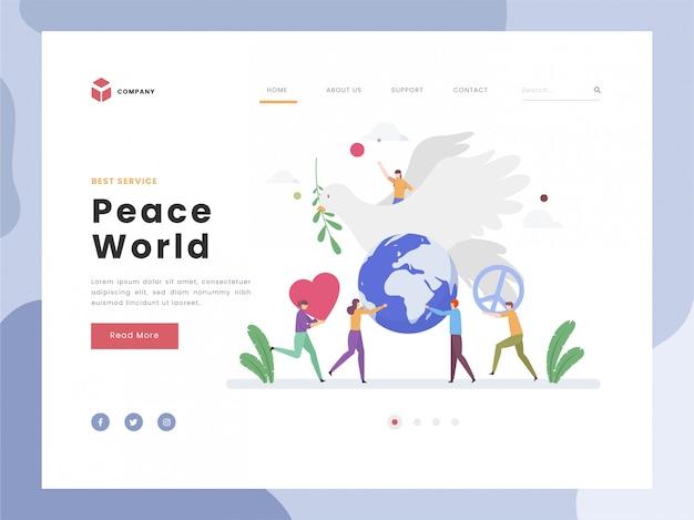 Journée de la paix, du calme et de l'harmonie, l'oiseau dove symbolique un heureux global et se détendre, plat minuscule apporter un signe de paix unité spirituelle Vecteur Premium