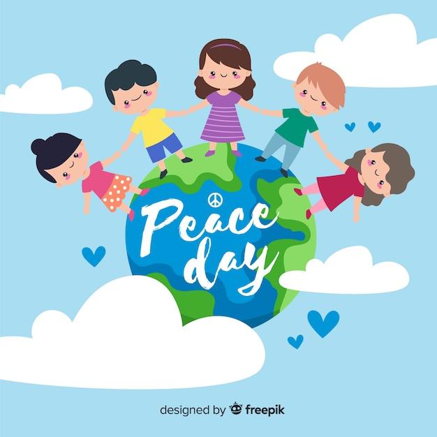 Journée de la paix et des enfants du monde entier Vecteur gratuit