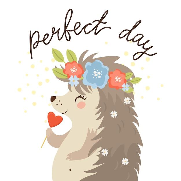 Journée Parfaite, Hérisson Avec Des Bonbons Vecteur gratuit