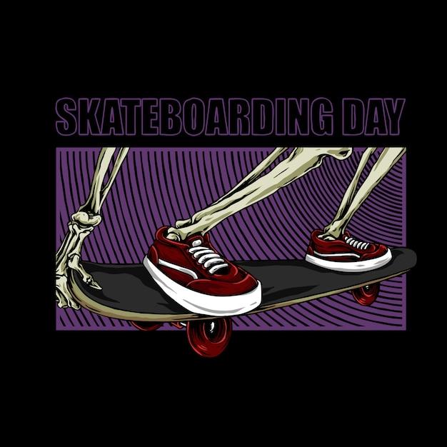 Journée de la planche à roulettes, jambes squelettes sur un patin Vecteur Premium