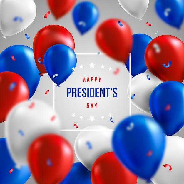 Journée Des Présidents Avec Des Ballons Réalistes Et Salutation Vecteur gratuit