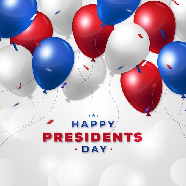 Journée Des Présidents Avec Des Ballons Réalistes Vecteur gratuit