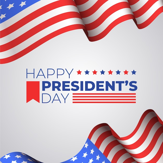 Journée Des Présidents Avec Drapeau Réaliste Vecteur gratuit