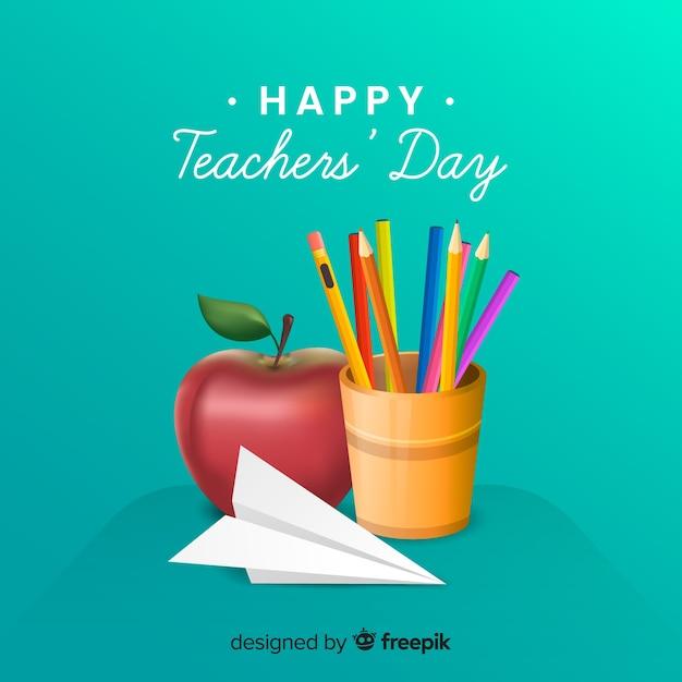 Journée des professeurs de design réaliste Vecteur gratuit
