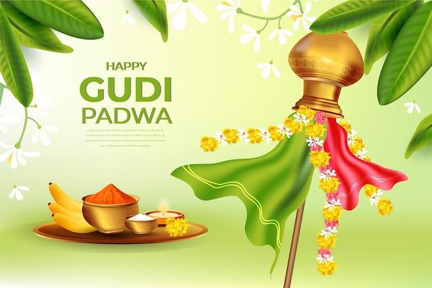 Journée Réaliste De Gudi Padwa Vecteur gratuit