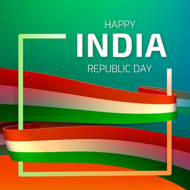 Journée De La République Indienne Réaliste Vecteur Premium