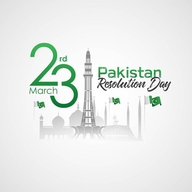 Journée de la résolution du pakistan Vecteur Premium