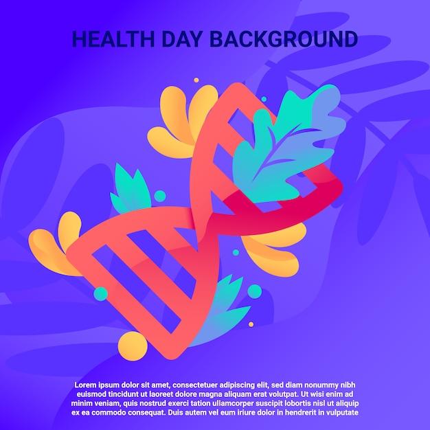 Journée de la santé abstraite avec illustration de l'adn Vecteur Premium