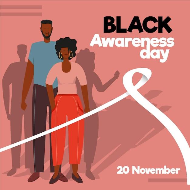 Journée De Sensibilisation Au Design Plat Noir Vecteur gratuit