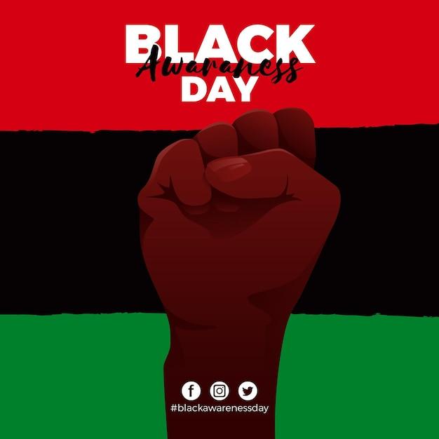 Journée De Sensibilisation Au Design Plat Noir Vecteur Premium