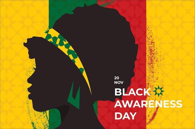 Journée De Sensibilisation Au Noir Au Design Plat Vecteur gratuit
