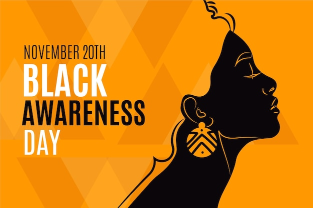 Journée De Sensibilisation Noir Plat Vecteur gratuit