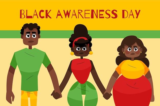 Journée De Sensibilisation Noire Dessinée à La Main Vecteur gratuit