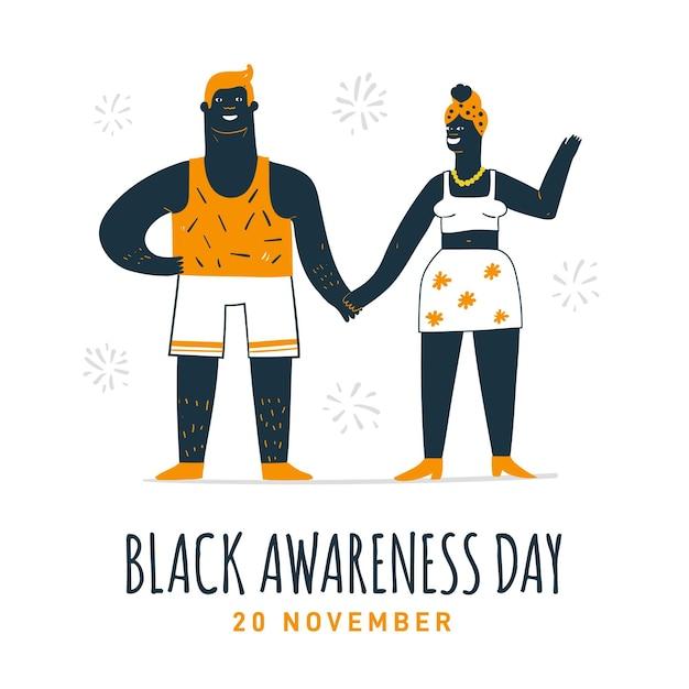 Journée De Sensibilisation Noire Dessinée à La Main Vecteur Premium