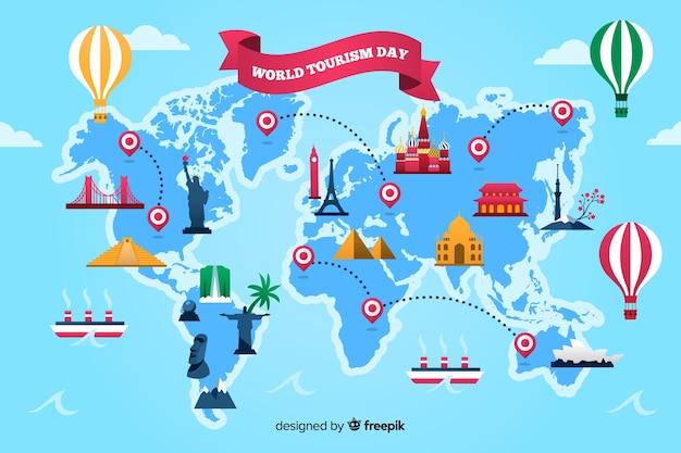 Journée de tourisme design plat avec points de repère Vecteur gratuit